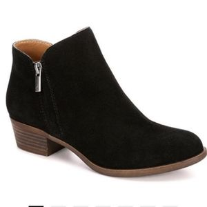 NEW Lucky Brand Fenley Black Suede Ankle Boots